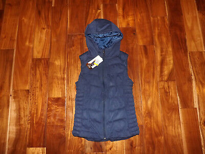 NWT Womens BE by BLANC NOIR Navy Blue Hooded Down Vest Jacket Size S Small