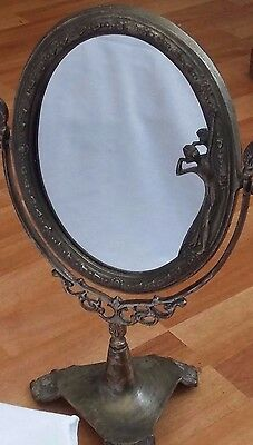 Art Nouveau Dressing Table Mirror Art Deco Lady Figurine Shabby Chic Top Vanity