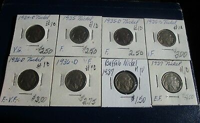 Buffalo Nickel 8 Coin Lot--Problem Free--Mixed Dates--1934 & 1937-- G to XF!