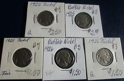 Buffalo Nickel 5 Coin Lot--Problem Free--Mixed Dates--1925 & 1926-- AG to F!