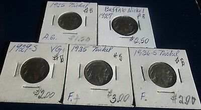 Buffalo Nickel 5 Coin Lot--Problem Free--Mixed Dates--1925 & 1936-- AG to F!