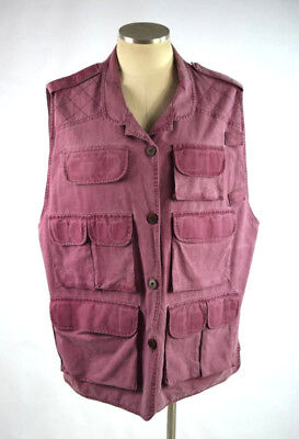 Vtg 80s Washed Out Maroon Red Fishing Hunting Vest Sleeveless Jacket Mens Sz L