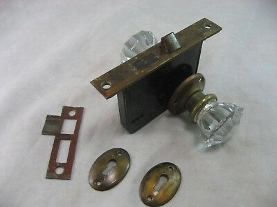 Door Mortise Knob Set Glass And Brass Lock Back Covers And Key Cover Antique #1