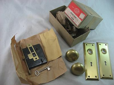 Elgin Door Lock # 5650 Set Vintage Antique In Box Old New Stock Unused With Key