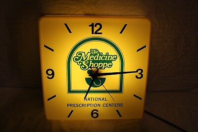 "Vintage 1960's The Medicine Shoppe Drug Store Gas Oil 16"" Lighted Clock Sign"