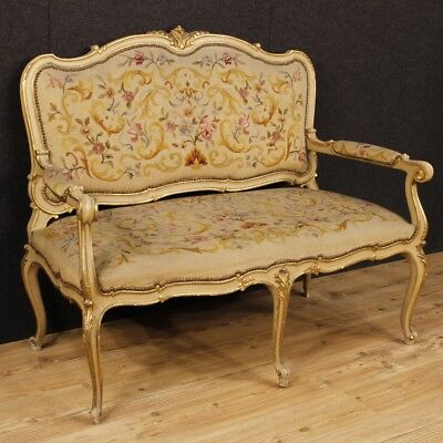 Sofa lacquered furniture Italian couch wood living room antique style Louis XV