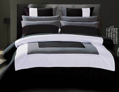 Super King / Queen Amore Black White Quilt Cover Grey Trimmed Duvet Cover Set