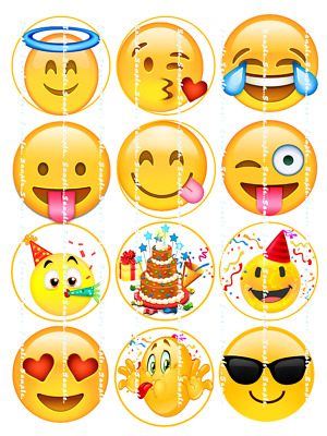 EMOJI: EDIBLE CUPCAKE Toppers FREE SHIPPING in Canada