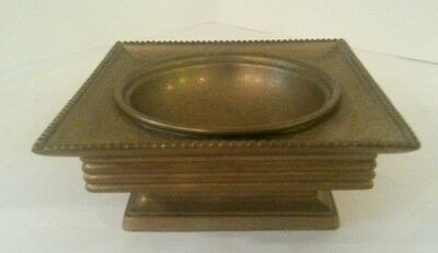 """Solid Brass Footed Bowl Square Beaded Rim 4"""" x 4"""" Antique Classic"""