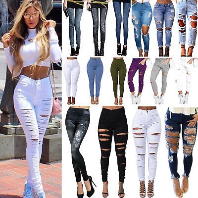 Women's Jeans Skinny Slim Stretchy Ripped Denim Pants Jeggings Pencil Trousers