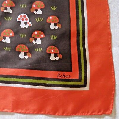 Vintage Echo Mushroom Scarf - Silk - Orange Browns