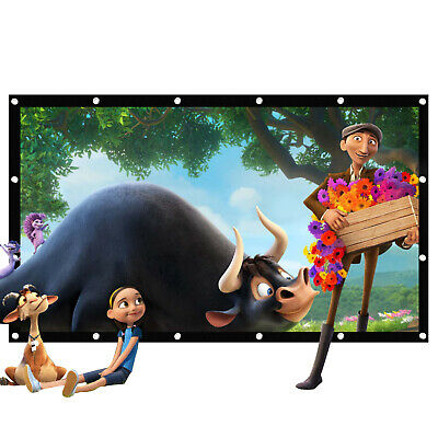 """120"""" Portable Projector Screen Movie Screen16:9 HD Home Theater Outdoor"""