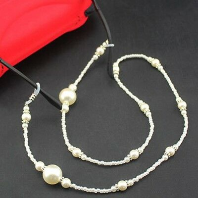 Reading Glasses Holder Pearl Beaded Neck Chain Cord Lanyard Strap Spectacles