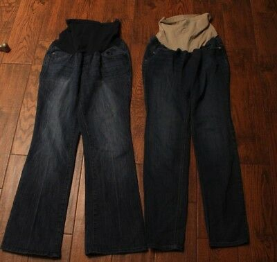 2 Pairs Full Panel Maternity Jeans Oh Baby Boot Cut & Indigo Blue Straight Sz L