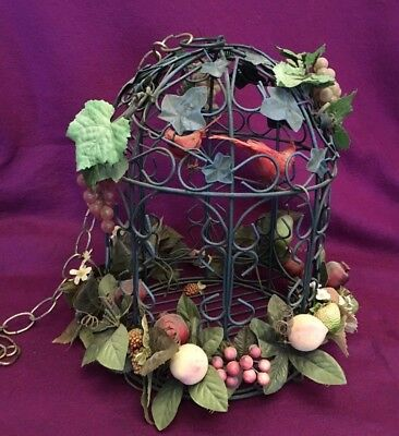 Metal 2 Bird Cage With Chain Decorative Fruits Leaves Vintage Gilt Tone 13 in hi