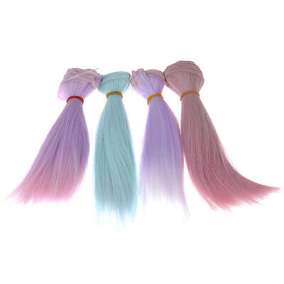 High-temperature Silk Long Straight Gradient Color =Hair Wig F. BJD Doll Kid Toy