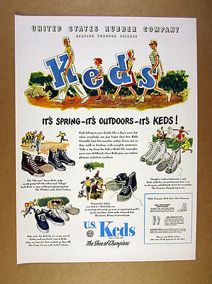 1947 Keds Shoes hi-tops family carrying letters art us rubber vintage print Ad