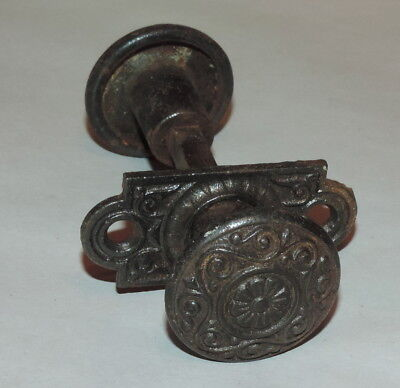 Antique Ornate Victorian Metal Iron Petite Door Knob with back plate Hardware