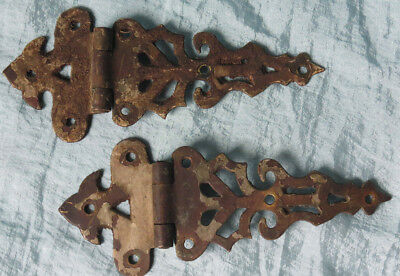 2 Old Vintage Antique Chippy Paint Fancy Ornate BRASS BRONZE  Rusty Door HINGES