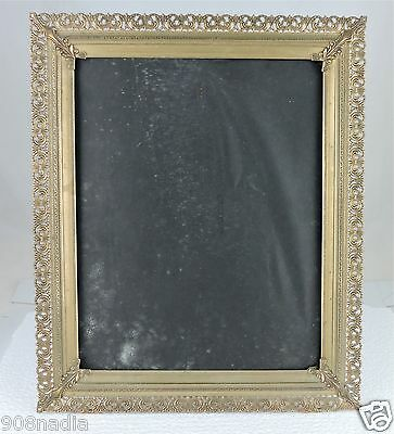 Antique Picture Frame Brass Open Work Ornate Bow Ties Corners
