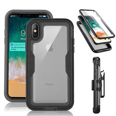 For iPhone X 7 8 Plus XR XS Max Shockproof 360 Heavy Duty Case With Belt Clip