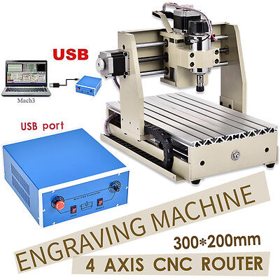3020 4Axis Usb Cnc Router Engraver Engraving Cutter Milling Carving Machine Pcb