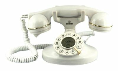 Telefono Fijo Antiguo Vintage Blanco Teclas Grandes Volumen Ajustable Retro New