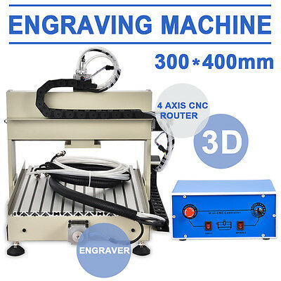 400W 4axis 3040 CNC Router Engraver 3D Engraving Milling Carving Drill Machine