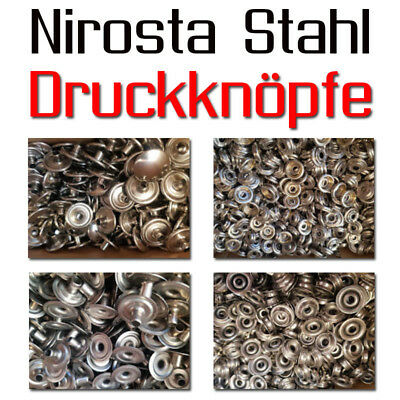 10 Set Press buttons 15 mmø out Nirosta Rust-free Stainless steel