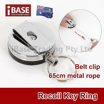 Metal Steel Recoil Key Ring Retractable Pull Chain Holder Reel Belt Clip Extend