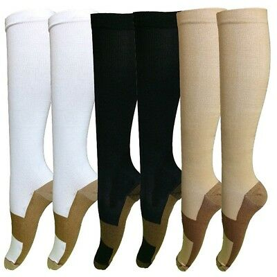 Copper Sock Graduated Compression 20-30 mmHg Foot Swelling Support Stocking Lot