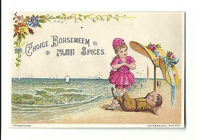 Trade Card Bohsemeem Choice Spices Weikel Smith Spice Phila BEACH Umbrella Hat