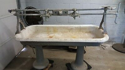 "vintage antique trough basin sink 60"" x 30"" x 8"" deep cast iron"