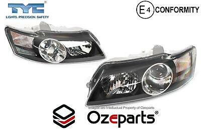 Pair LH+RH Head Light Projector Black For Holden Commodore VY Calais HSV 02~04