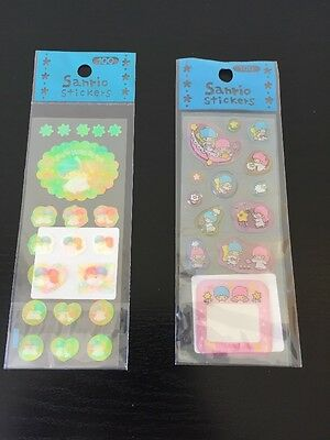 Vintage 1998 Little Twin Stars Iridescent & Clear Puffy Sticker Lot