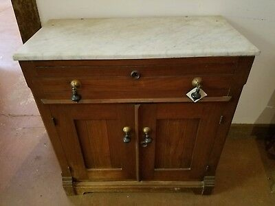 Antique Victorian MARBLE TOP Wood WASHSTAND with Drop Handles