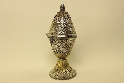 Antique Original Silver Ottoman Tugra Decorated Amazing Big  Strong Incense