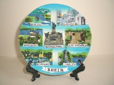Plato Placa decorativa Relieve de pared, Rin río ,14cm, Recuerdo, con Soporte
