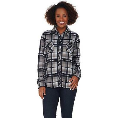 Denim & Co. Size 3X Grey Brushed Heavenly Jersey Plaid Button Front Shirt