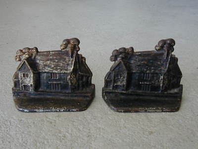 ANTIQUE book ends CAST IRON COTTAGE old HOUSE signed JERSEY 15 BOOKENDS