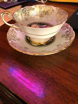 Paragon Teacup Tea Cup And Saucer White Black Gold Floral