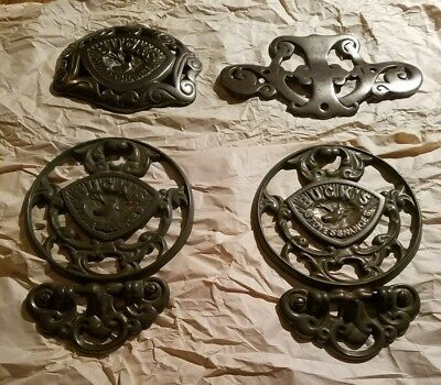 Antique Cast Iron Ornate Buck Stove Range Folding Trivets and Other Misc Parts