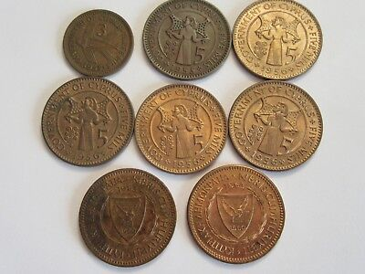 Lot of 8 Cyprus Coins, super details, mixed dates & denominations