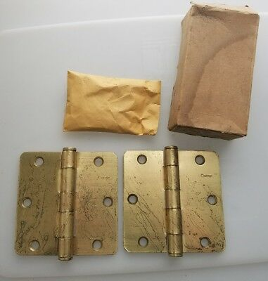 "Vintage Door Hinge Griffin 3 1/2"" X 3 1/2"" Pair Door Brass Plate"