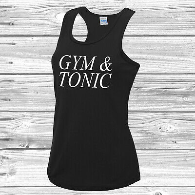 Gym & Tonic Girls Vest Tee Top Gym Workout Fitness JC015 And Gin