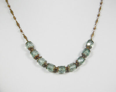 Art Deco Style Choker with Faceted Light Green Beads and Vintage Beveled Chain