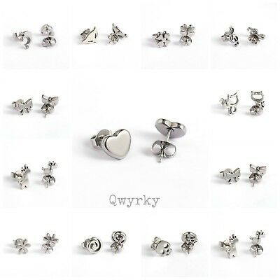 Pair of cute small silver stainless steel earrings studs ideal gift optional box