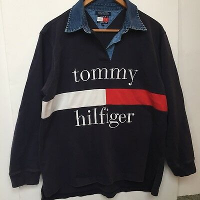 Vintage Tommy Hilfiger 1990s Denim Rugby Jeans Spell Out Big Flag Red White Blue