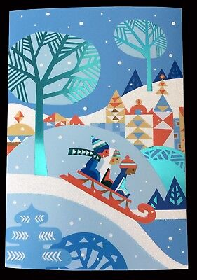 unicef holiday cards kids bobsled seasons greetings box of 12 nib free ship - Unicef Holiday Cards