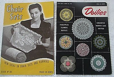 2 Vtg  PATTERN BOOKS for CHAIR SETS + DOILIES Crochet Knitted Hairpin Lace